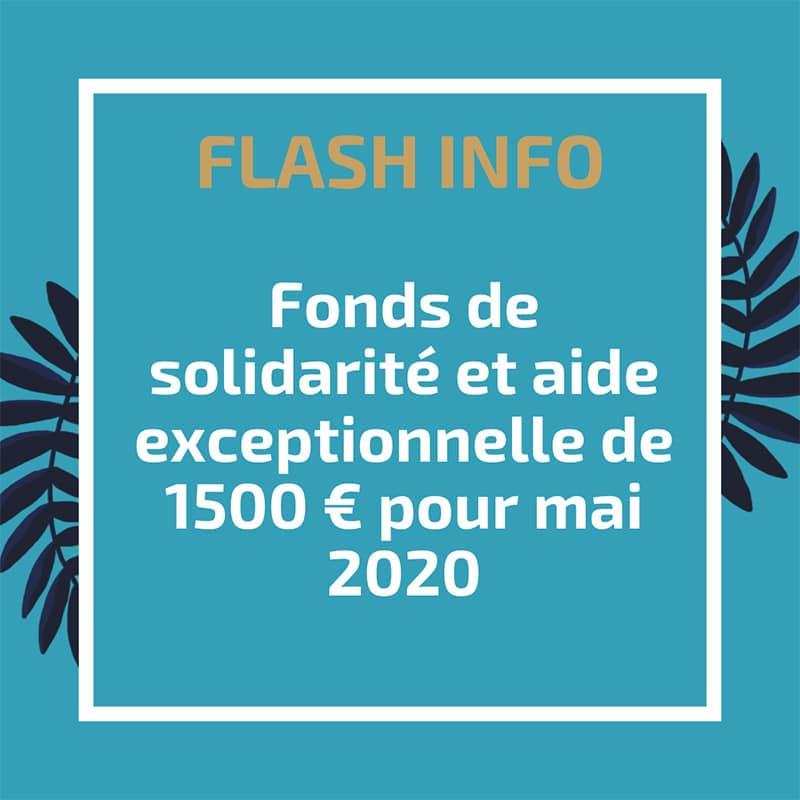 Fonds de solidarité et aide exceptionnelle de 1500€ pour mai 2020