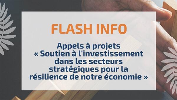 Appels à projets « Soutien à l'investissement dans les secteurs stratégiques pour la résilience de notre économie »