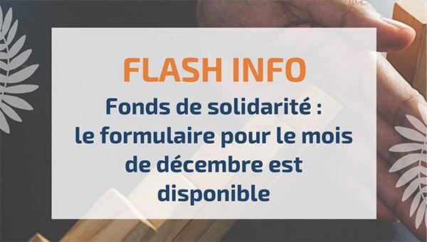 Fonds de solidarité: le formulaire pour le mois de décembre est disponible