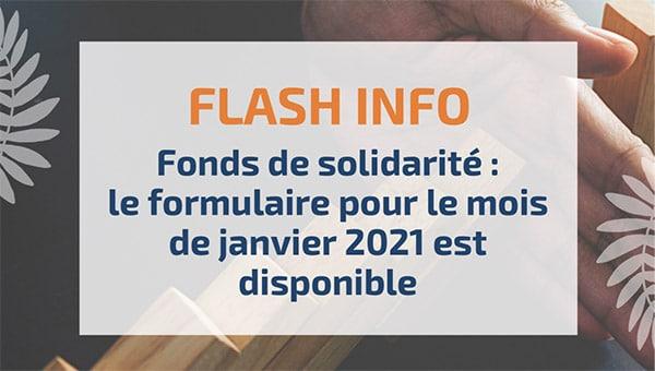 Fonds de solidarité : le formulaire pour le mois de janvier 2021 est disponible
